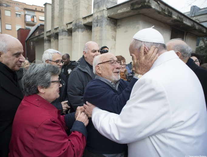 Pope Francis makes a surprise visit to the retirement home Bruno Buozzi on Jan. 15.