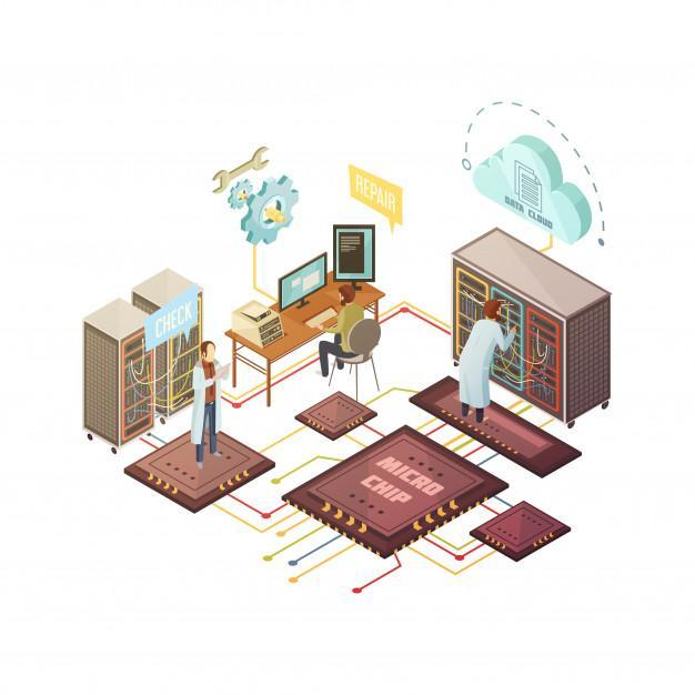Server room with staff and equipment repair and support services cloud storage Free Vector