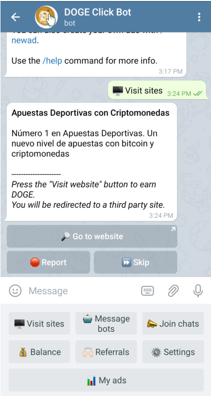 Telegram Dogecoin clickbot for Pay to click advertisements