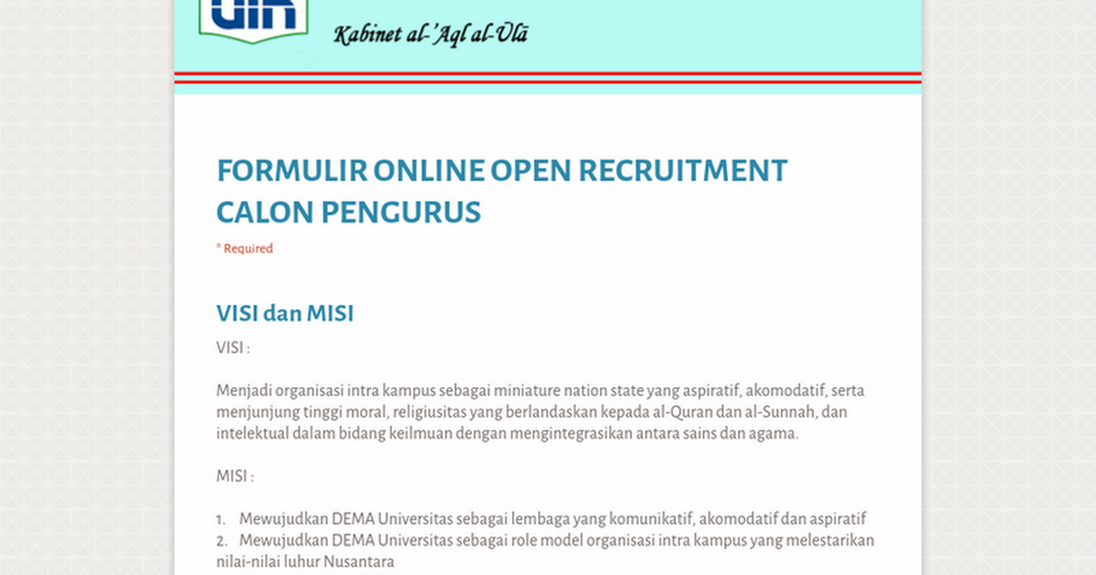 Formulir Online Open Recruitment Calon Pengurus
