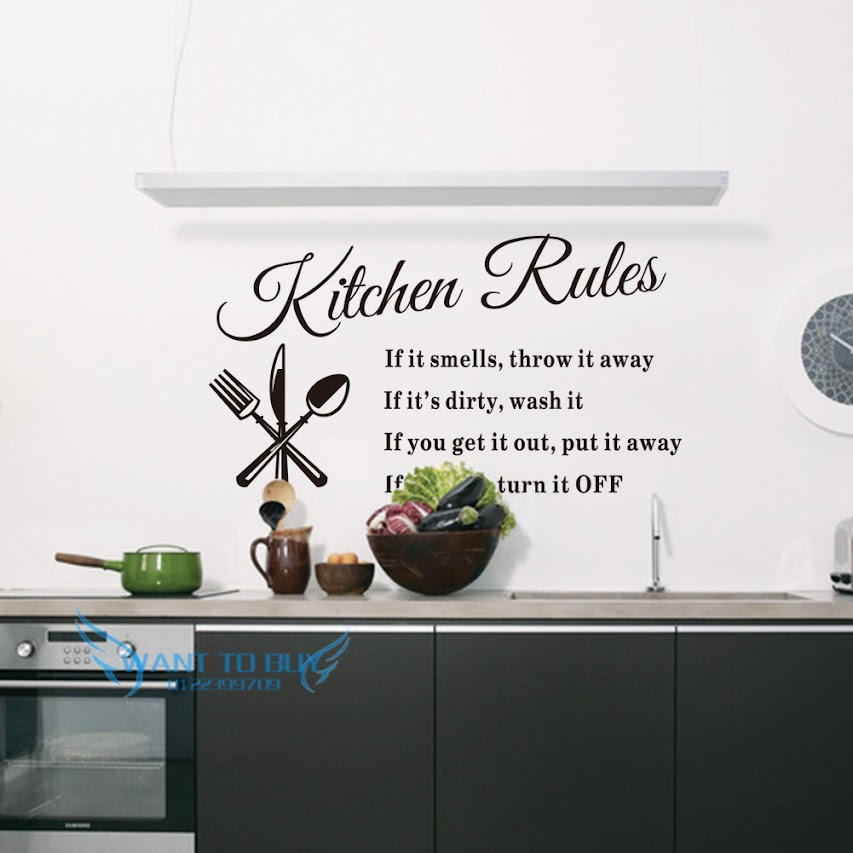 Kitchen rules vinyl wall stickers qu end 6 15 2018 5 15 am for Y kitchen rules 2018