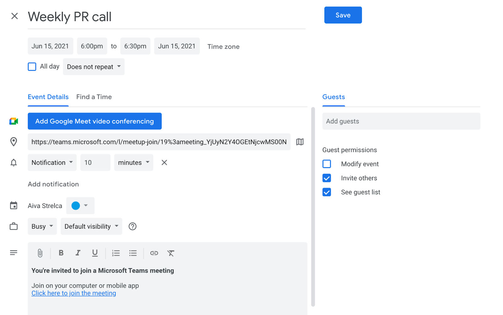 Adding meeting details for Microsoft Teams meeting on Google Calendar
