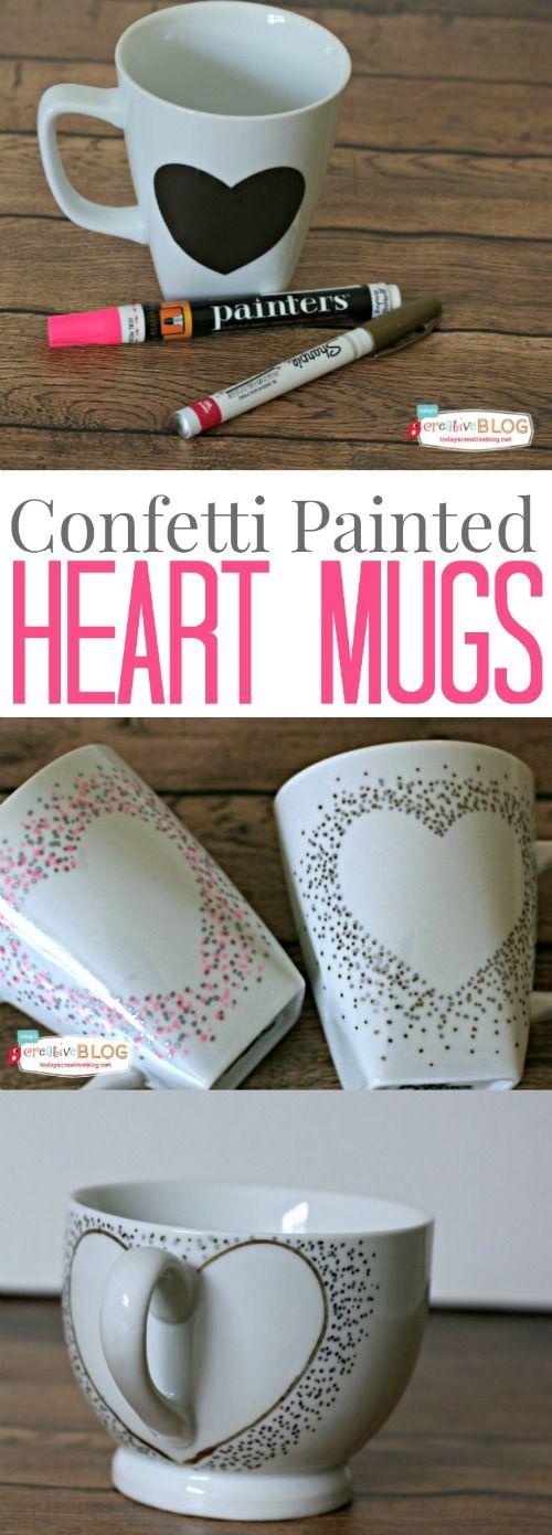 Confetti Painted Heart Mugs | TodaysCreativeblog.net: