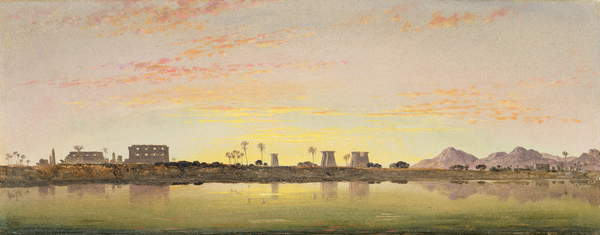 Image of Pylons at Karnak, the Theban Mountains in the Distance (oil on paper on board), Cooke, Edward William (1811-80) / English, Yale Center for British Art, Paul Mellon Collection, USA, 14.4x36 cms, © Bridgeman Images