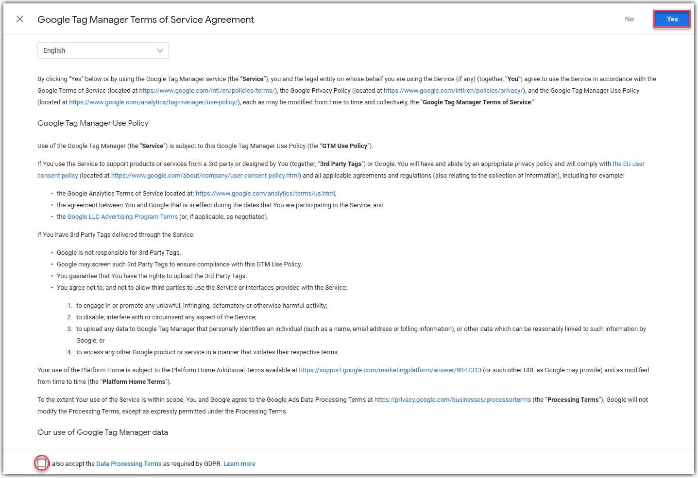 Terms of Service GTM