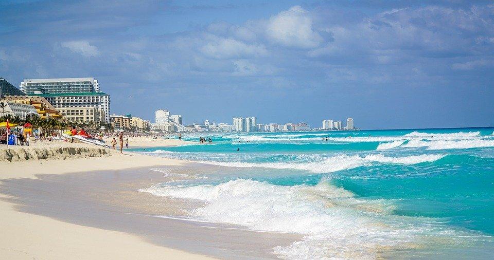Cancún, Mexico, Playa, Olas, Hotel, Personas, Costa
