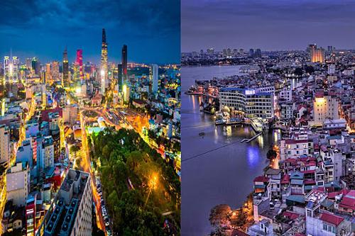 Tôi yêu cuộc sống tại TP HCM (trái)và hiểu rõ thành phố này hơn Hà Nội (phải), nhưng từng đến Hà Nội khá nhiều lần, đặc biệt đây là nơi đầu tiên tôi đặt chân tới khi đến Việt Nam hơn một thập kỷ trước, Keith chia sẻ. Ảnh: festa-de-casamento.