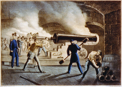 Sumter's Union artillerymen work the fort's cannons, overseen by Maj. Robert Anderson.