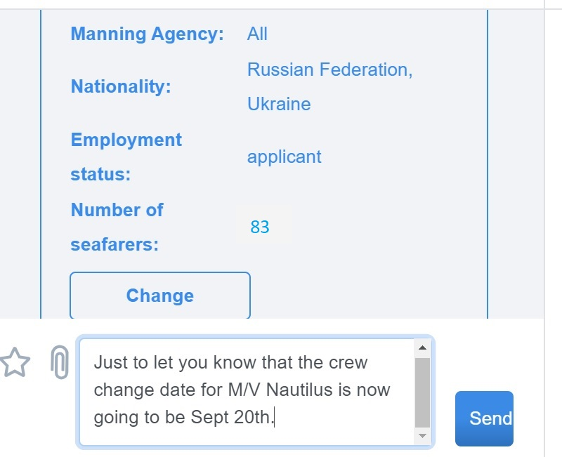 screenshot of Martide website showing the message in the text box