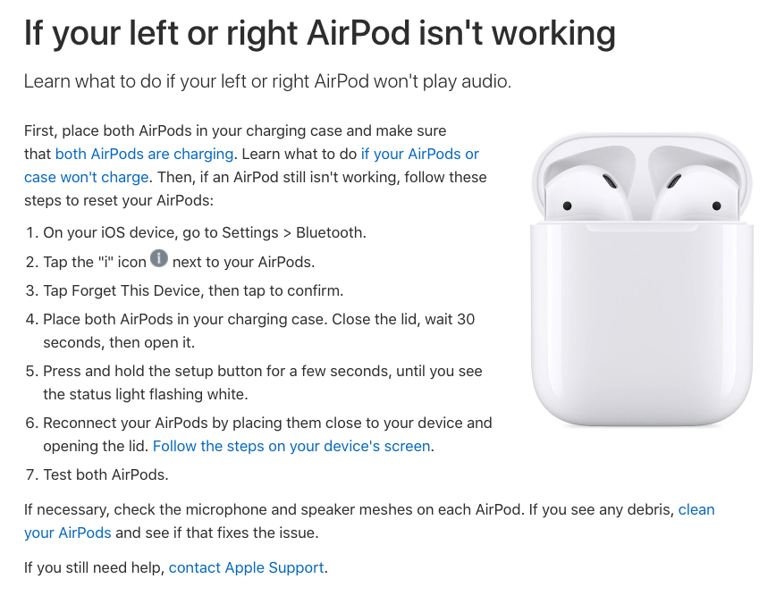 Example of a knowledge base article by Apple