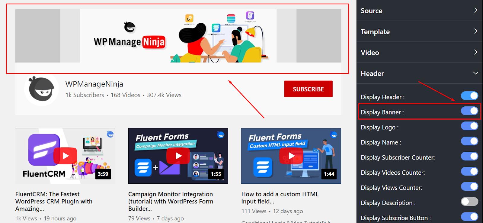 display banner youtube settings