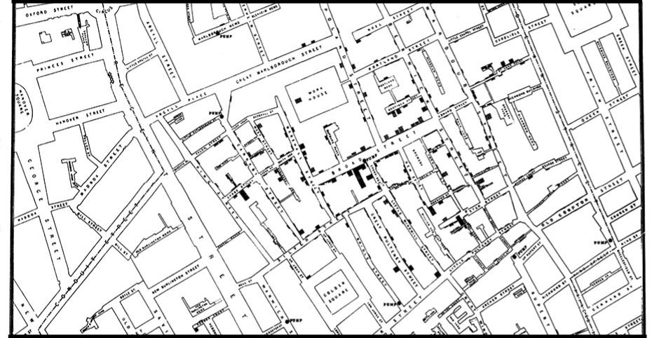 John Snow's Cholera point map of 1854