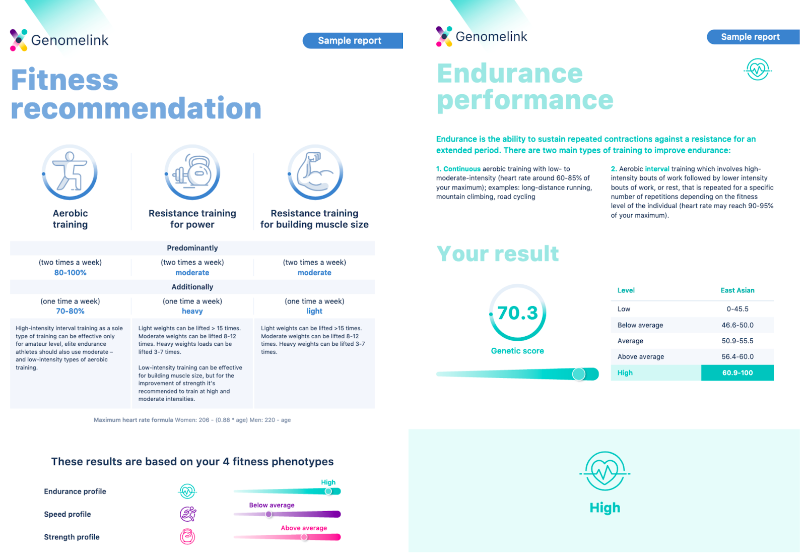 Genomelink Personalized Fitness Report.