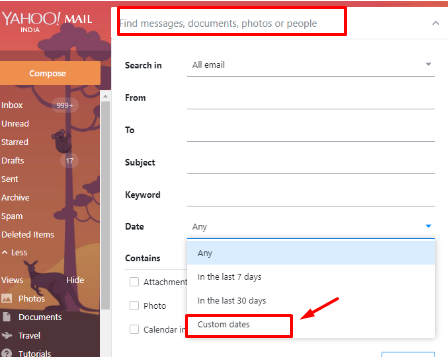 How should I read my old emails in yahoo mail