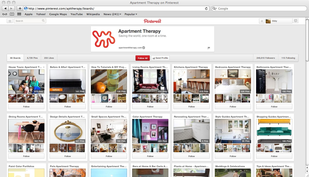 Pinterest for business example profile