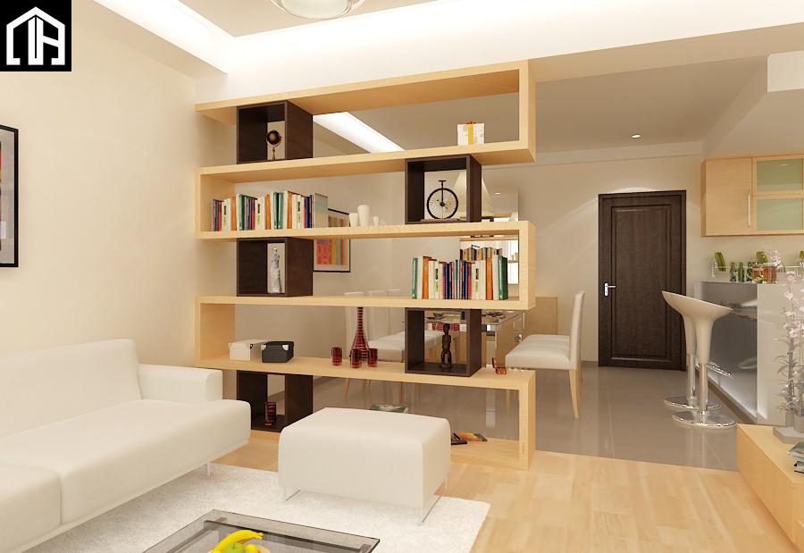 Vách ngăn phòng khách thông phòng ăn chung cư để trang trí