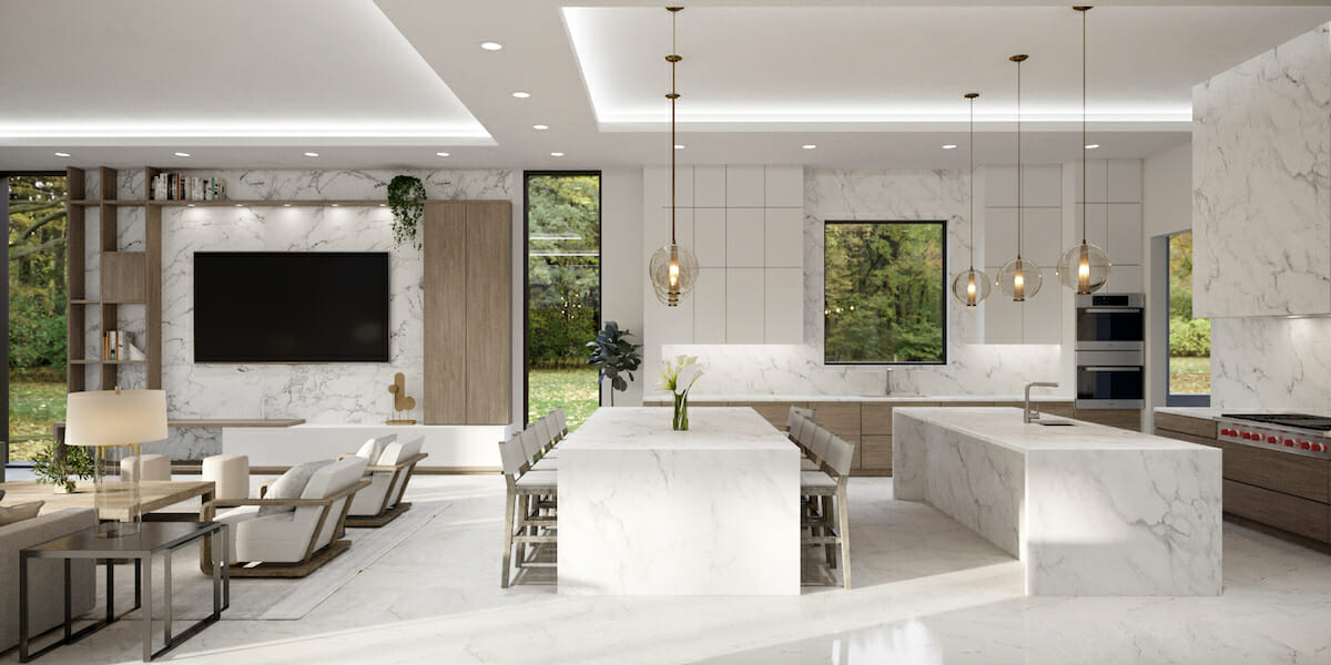 Luxury Interior Design for open living and dining by Laura A