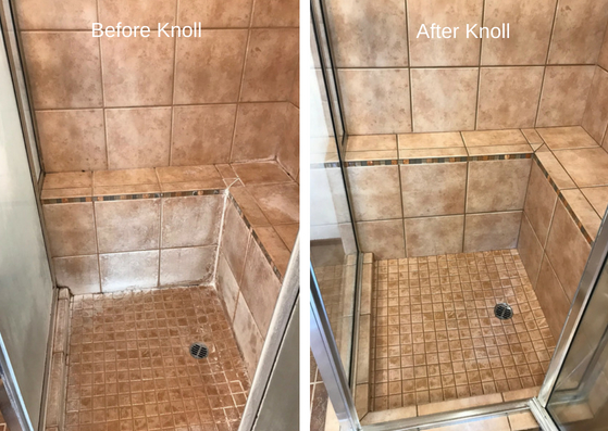 Before and after Hammond Knoll cleaned a shower