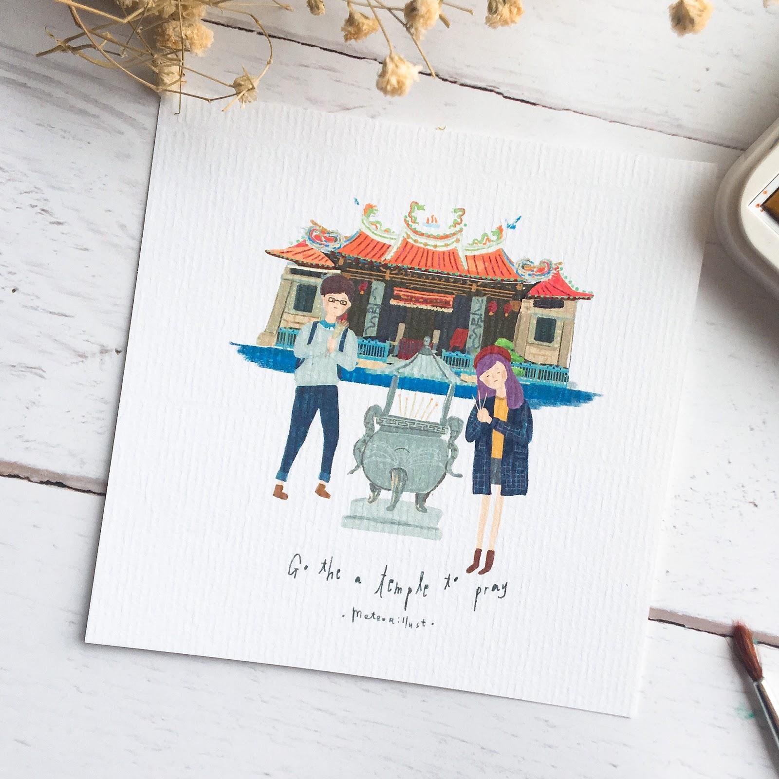 台灣寺廟 明信片 手繪卡片