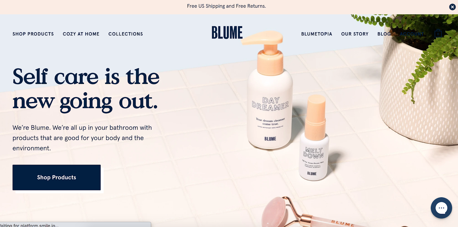 Blume Website homepage
