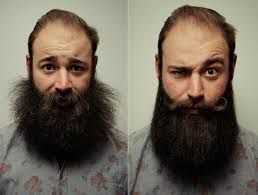 a before and after showing that beard oil helps with beard growth