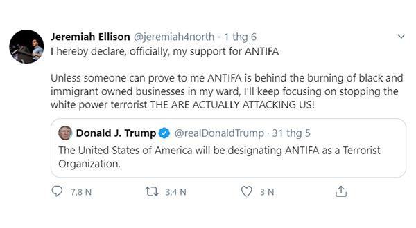 Con trai ông ta là Jeremiah Ellison cũng công khai thừa nhận hỗ trợ Antifa.
