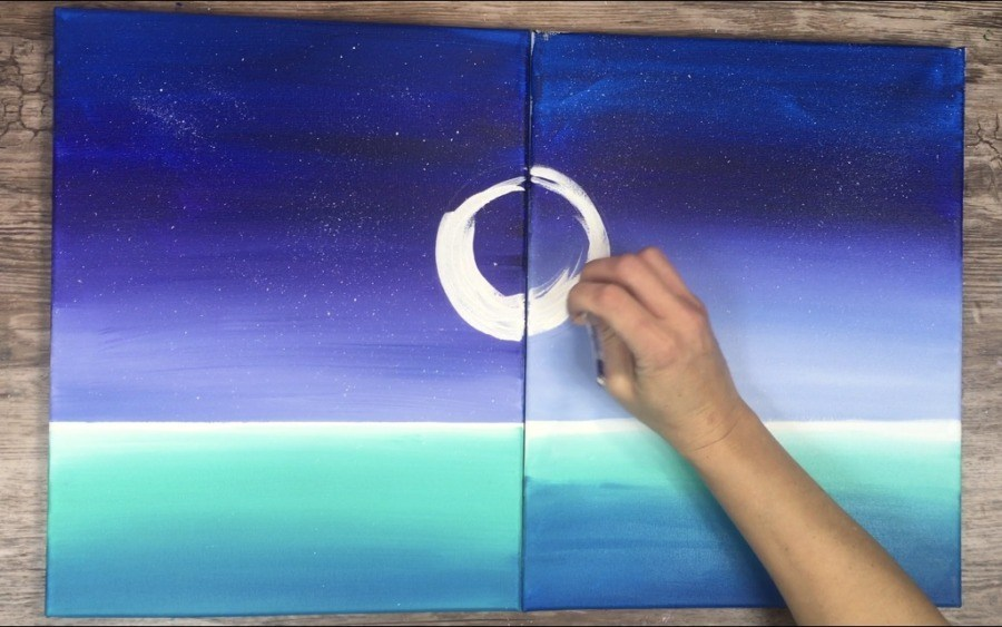 hand painting moon on canvas