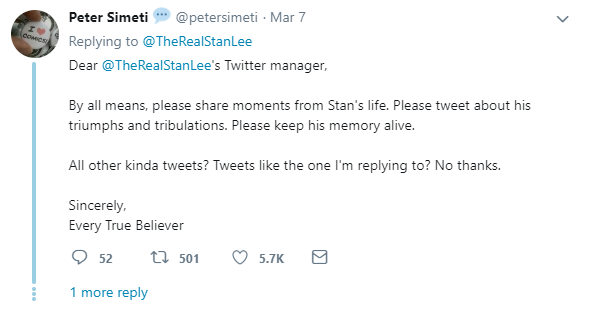 One fan's response to the promotion of Captain Marvel on the late Stan Lee's account.