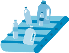 Various plastic bottles and containers on a conveyor belt.