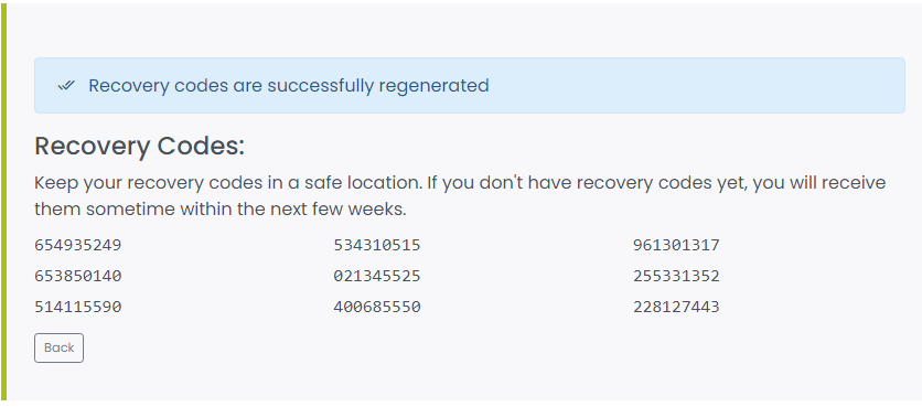 Automatically generated recovery codes
