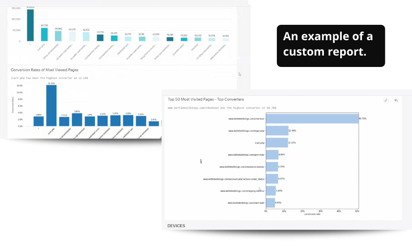 An example of a custom conversion rate report made by data scientist.