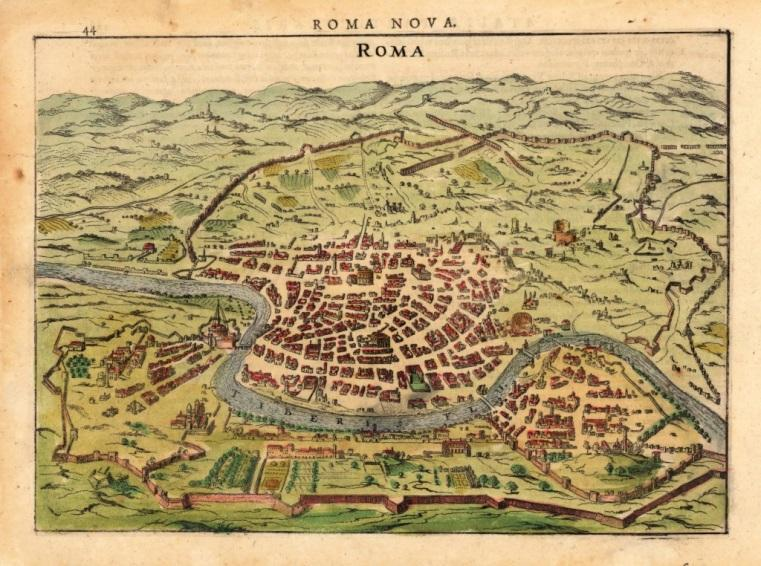 A Renaissance map of Rome, with the populatoin clustered by the Vatican.
