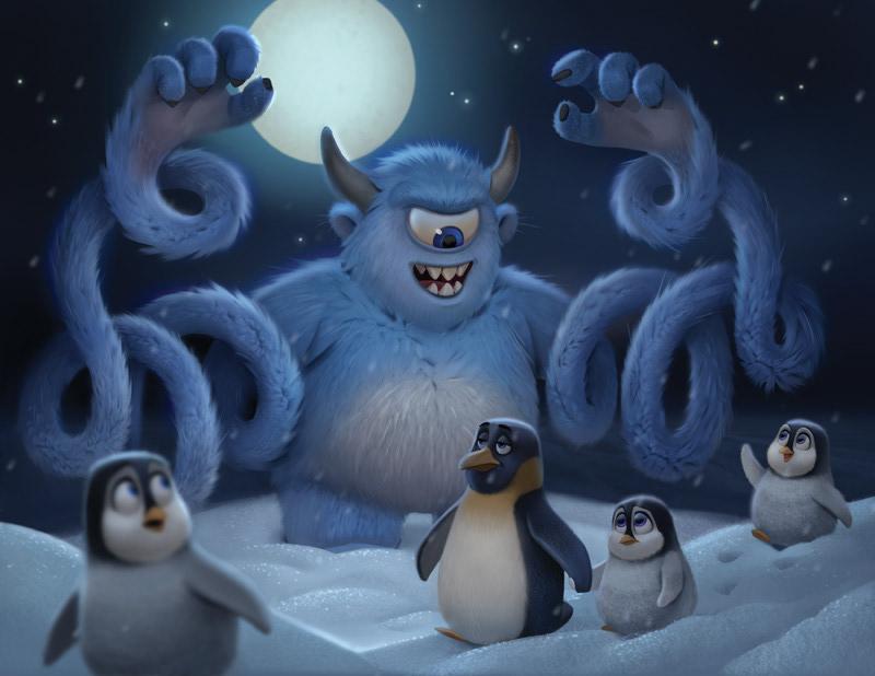 Image may contain: cartoon, bird and penguin