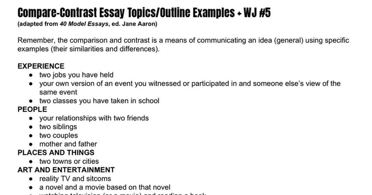 Compare contrast essay tv shows
