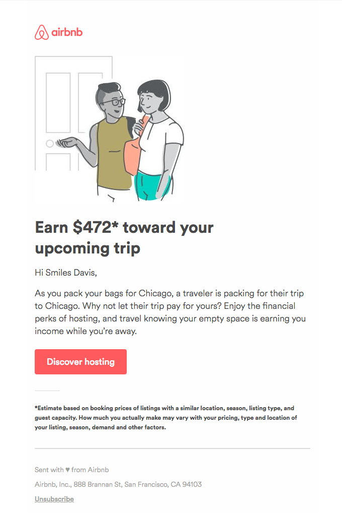 Airbnb tries to activate past hosts with the possibility of how much they could earn by opening up their empty space again.
