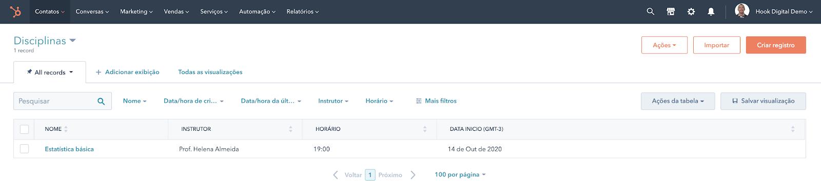 Hubspot Objeto customizado - Edição