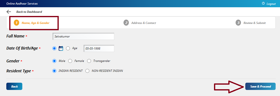 Enter Your Details and Click Save & Proceed - New Aadhaar Card Apply Online