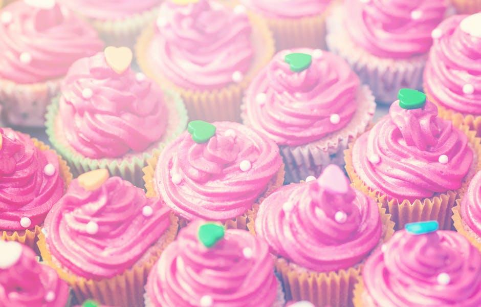 View of Mini Cupcakes Topped With Pink Icings