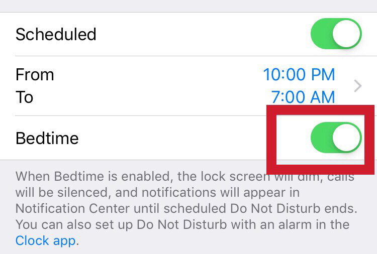 """the """"Bedtime"""" option of the 'Do Not Disturb' mode - iPhone"""
