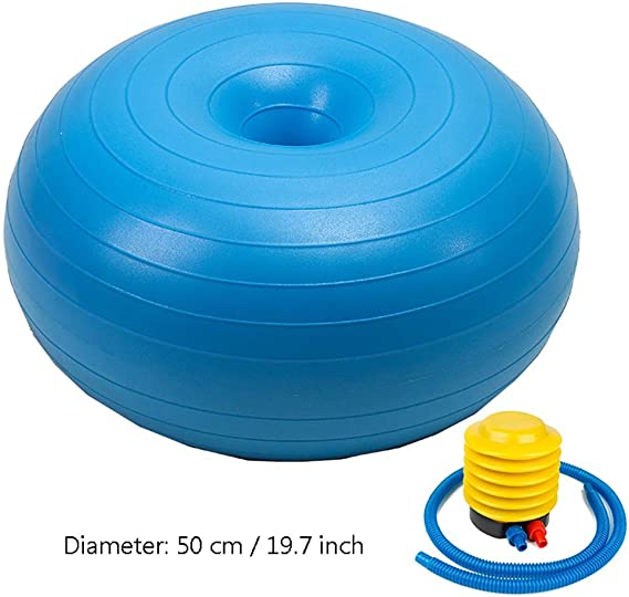 SH-PH Yoga Balls for Pregnancy l Exercise Donut Yoga Ball Workout Core Training Stability Ball for Yoga Pilates Balance Training with Inflatable Pump, Diameter: 50 cm / 19.7 Inch (Color : D)