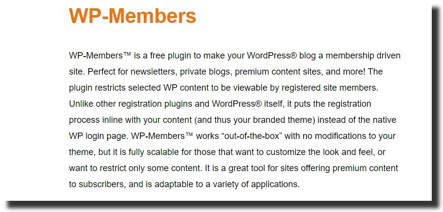 WP-Members Membership Plugin best free wordpress plugins