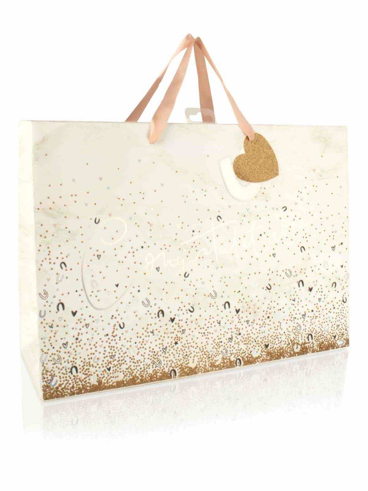 Elegant Wedding Gift Wrapping Ideas; Clintons Horseshoe And Glitter Effect Extra Large Wedding Gift Bag