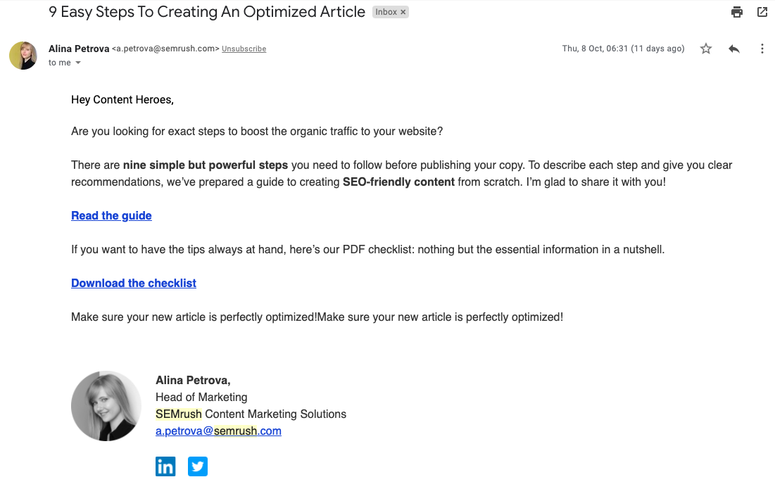 Personalized Marketing Emails