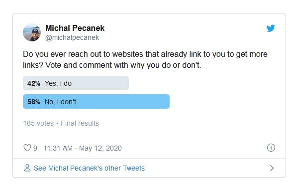 опрос оптимизаторов в Твиттер о повторных ссылках с того же домена