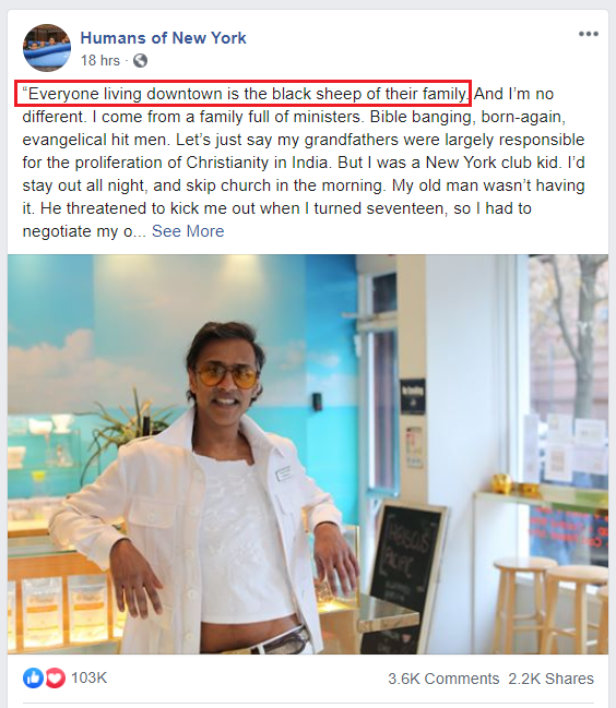 Captura de pantalla de una historia de la página de Facebook de Humans of New York.