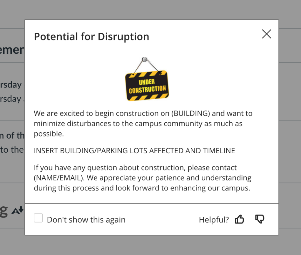 Campus disruption EesySoft Message