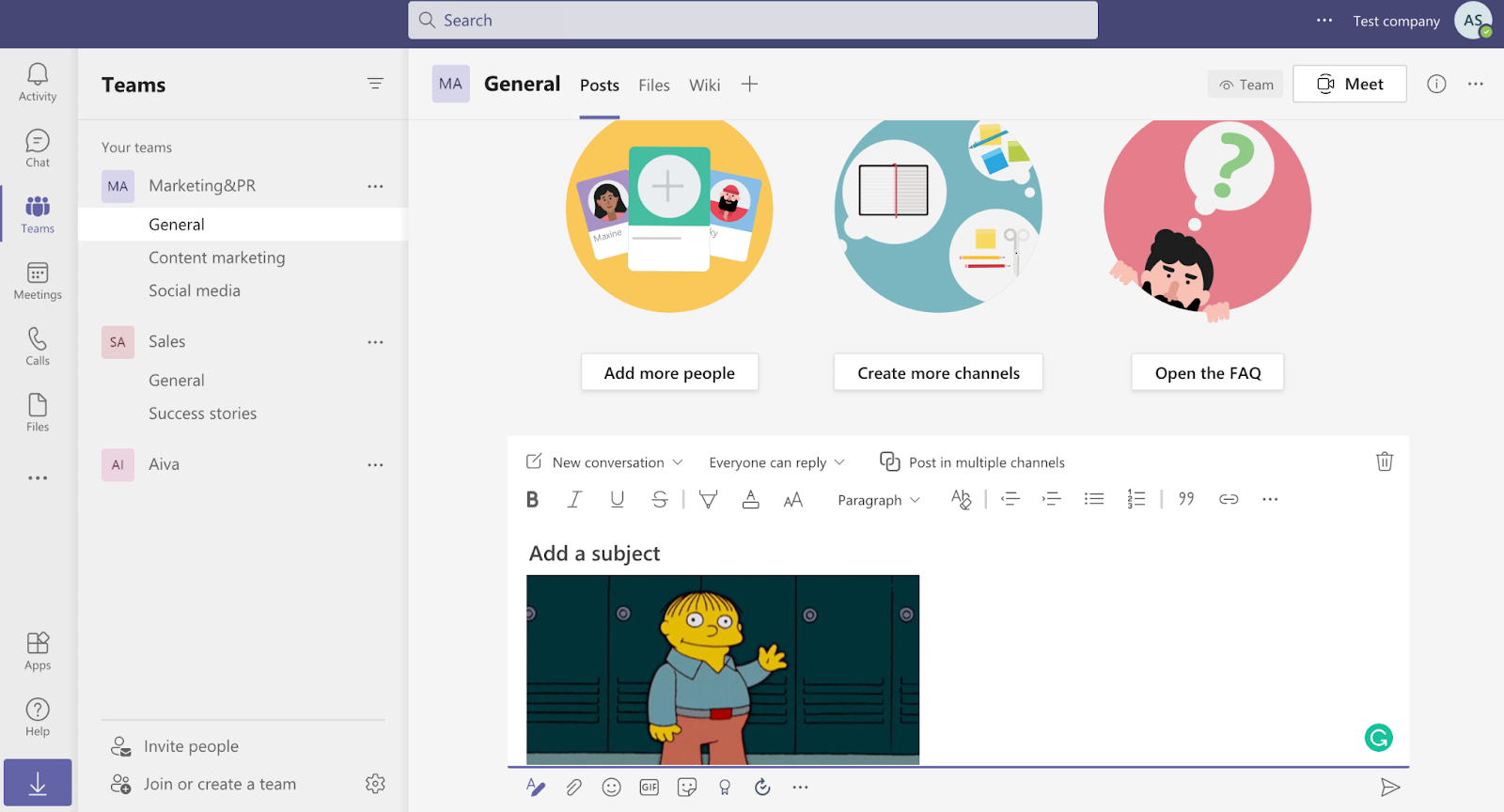 Microsoft Teams channel screenshot