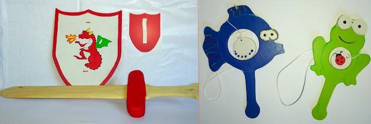 Juguetes de madera pintada. Espada (50x16 cm) y escudo con agarre (25 x 20 cm). Balero pez (15x11 cm). Balero rana (15x8 cm).