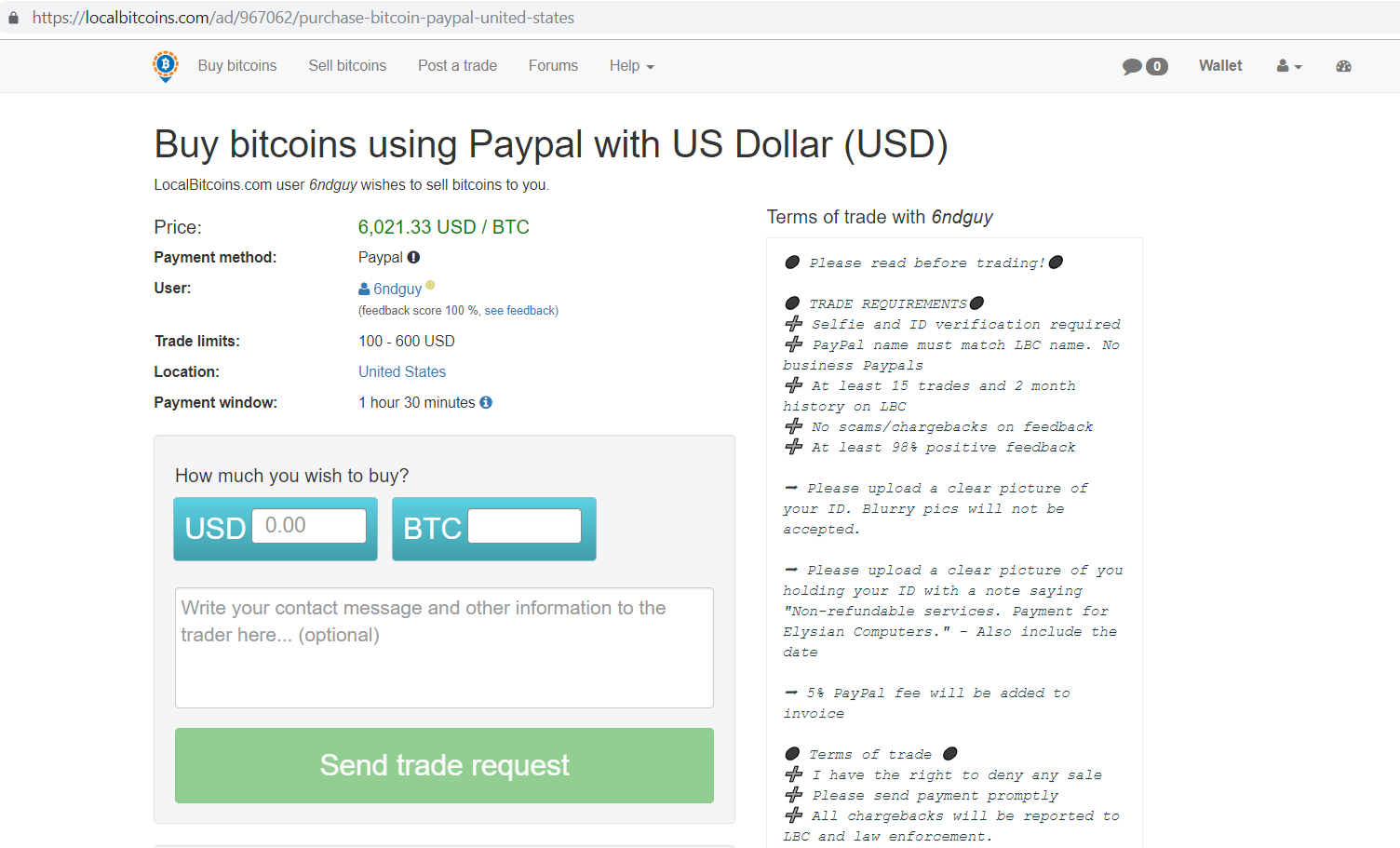 Localbitcoins.com buy bitcoins using paypal with us dollar page.