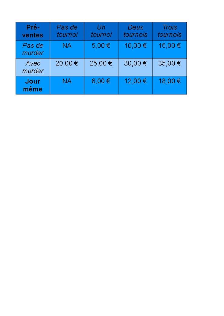 Attention: l'inscription aux tables d'initiations organisées par le Collectif de l'Orbe est GRATUITE mais obligatoire :) pour tous les tournois, la tarification est reprise dans le tableau ci-dessous: